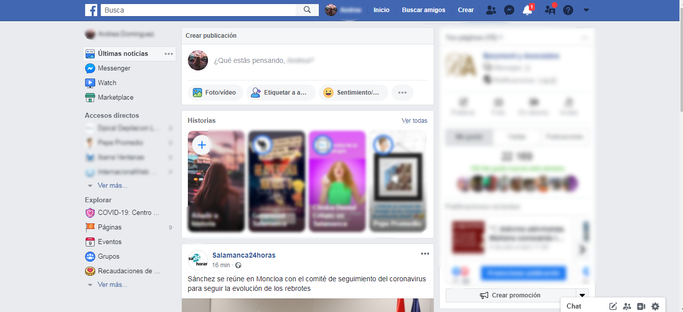 Diseño antiguo de Facebook